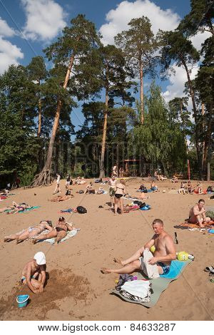 Dults And Children Sunbathing In The Beach