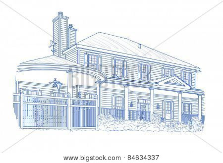 Custom Blue House Drawing on White Background.