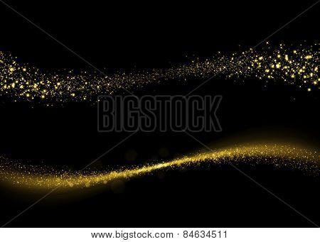 Glittering gold dust tail. Twinkling glitter. Abstract glittering wave