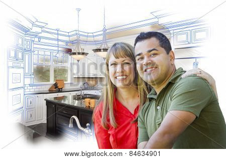 Happy Mixed Race Couple Over Kitchen Design Drawing and Photo Combination on White.