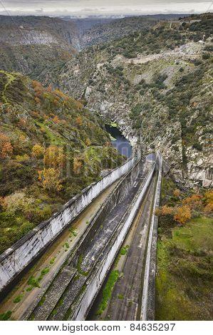 Landscape With Dam In Spain. La Almendra. Arribes Del Duero