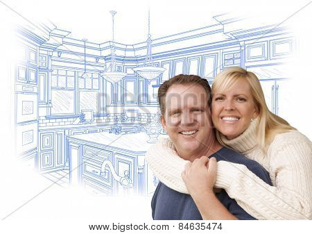 Happy Couple Hugging with Custom Kitchen Drawing Behind on White.