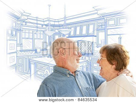 Happy Laughing Senior Couple Over Custom Kitchen Design Drawing on White.