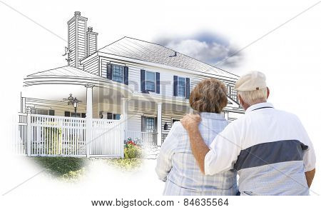 Curious Embracing Senior Couple Looking At  House Drawing and Photo Combination on White.