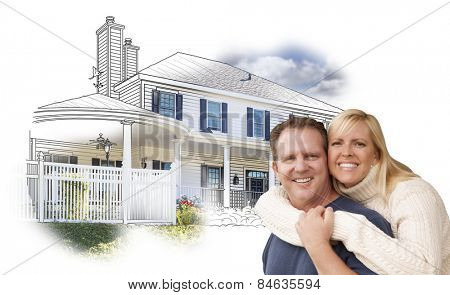 Happy Hugging Couple Over House Drawing and Photo Combination on White.