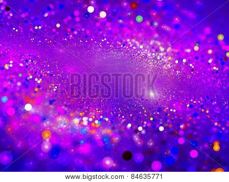 Purple Glowing Particles In Space