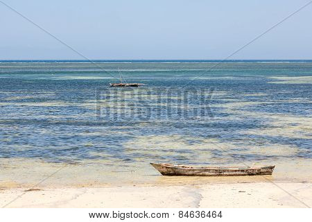 Old wooden arabian dhow in the ocean