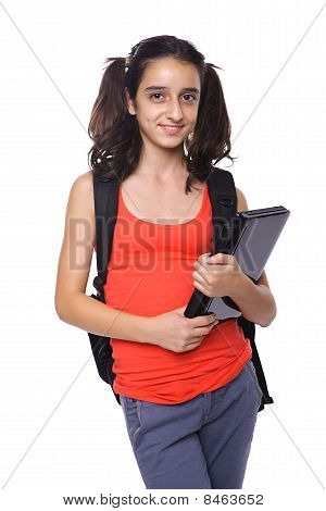 School Girl With A Laptop Posing