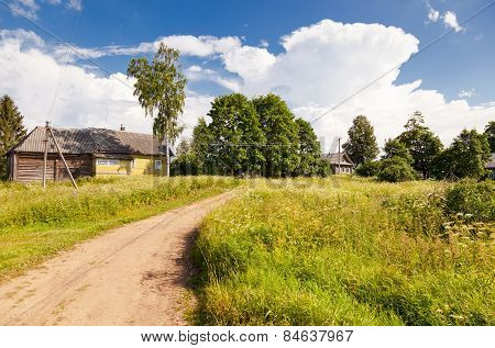 Small Village In Central Russia In Sunny Summer Day