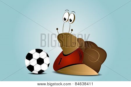 Cartoon snail as a football player