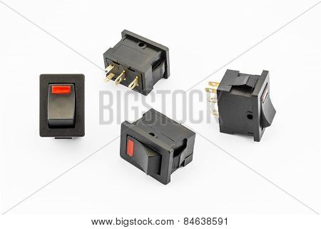 Red Rocker Switches With Build-in Led