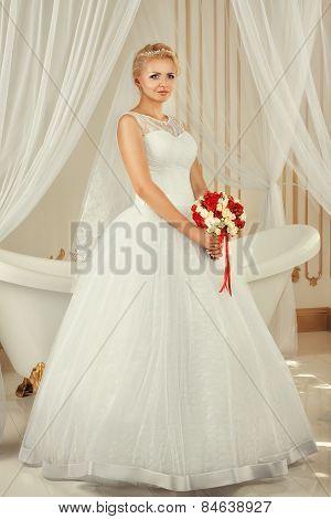 Portrait Of The Bride With A Bouquet