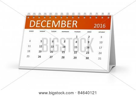 An image of a table calendar for your events 2016 December