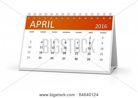 An image of a table calendar for your events 2016 April