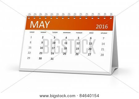 An image of a table calendar for your events 2016 May
