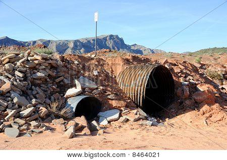 Culvert in Nevada Desert Wash