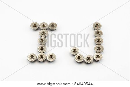 I And J Alphabet, Created By Stainless Steel Hex Flange Nuts