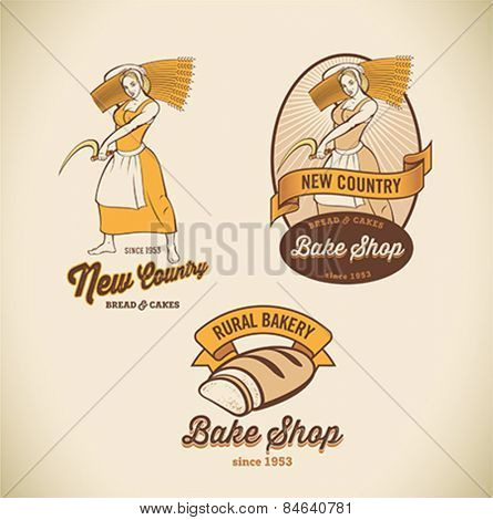 Set of retro-styled bakery labels including images of country woman and rustic bread. Editable vector illustration.