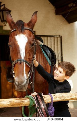 Cute little boy caressing horse.