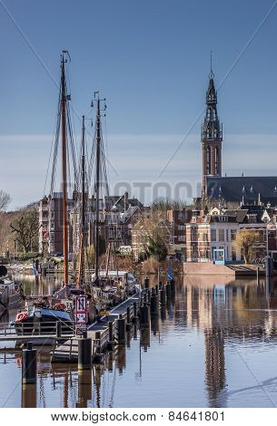 Old Ships And The Jozef Cathedral In Groningen