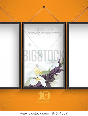 eps10 vector elegant hanging frame with flowers and leaves elements on white background and orange wall