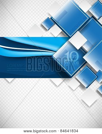 eps10 vector elegant overlapping geometric squares, rectangle frame with wave lines elements, blue concept corporate background design