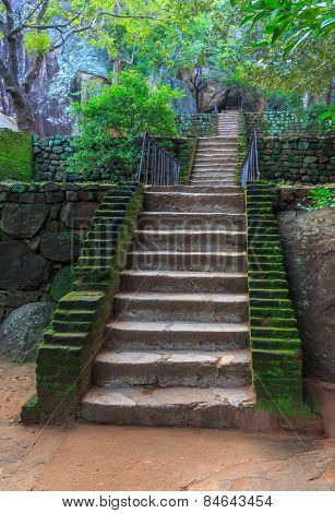 Old stairs in Sigiriya Castle, SriLanka