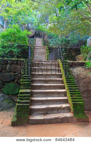 Stairs in old Sigiriya Castle, SriLanka