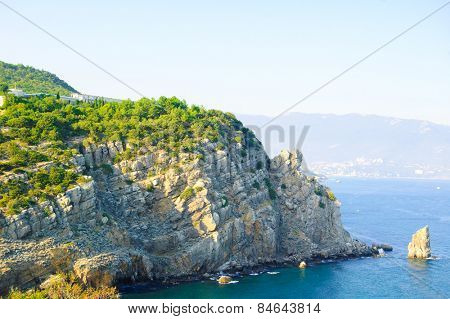 Summer Landscape with Rocky Coast. Southern Coast of Crimea, Ukraine