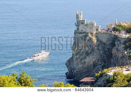 Beautiful Famous Swallow's Nest Castle on the Rock, Crimea, Ukraine