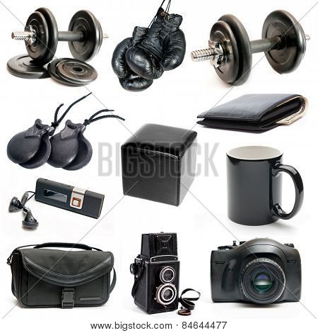 different black objects isolated on a white background