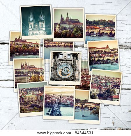 collage of sights and beautiful views of Prague  on wooden table