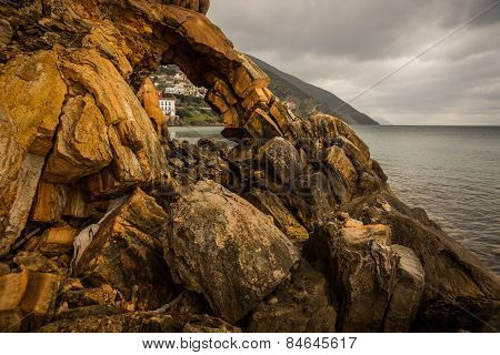 Rock Formations On The Beach  In Loutra Edipsou, Evia, Greece