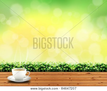coffee cup on wood floor in outdoor park and sky green light background