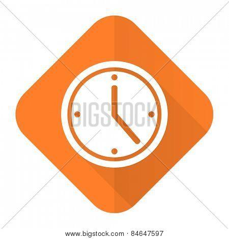 time orange flat icon watch sign