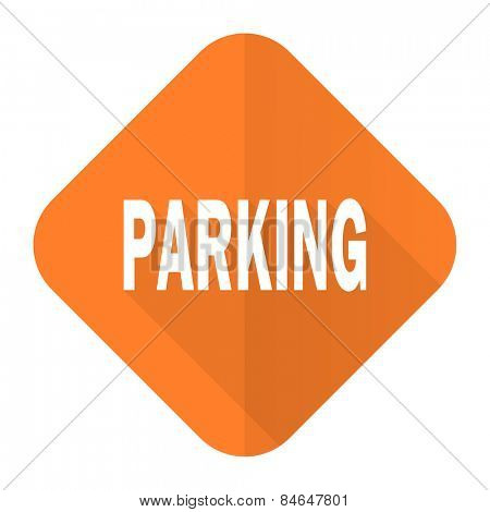 parking orange flat icon
