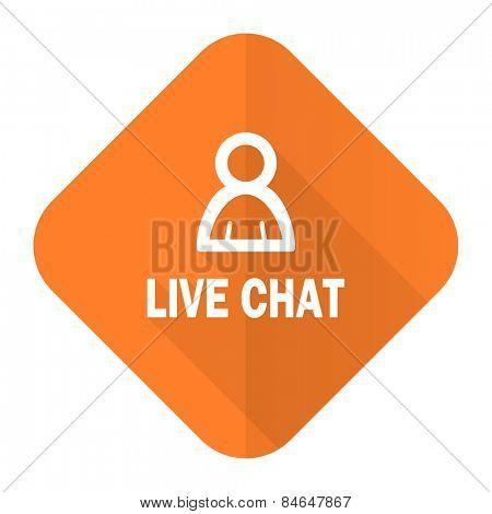 live chat orange flat icon