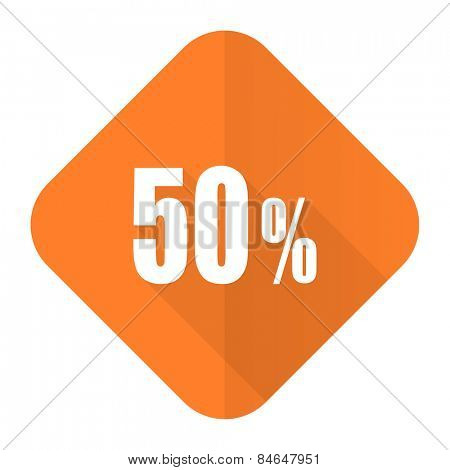 50 percent orange flat icon sale sign
