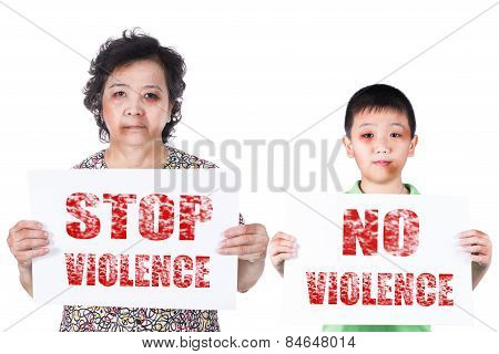 Senior And Kid Abuse With A Black Eye Bruised And Injured Holding Stop Violence Horizontal Paper.