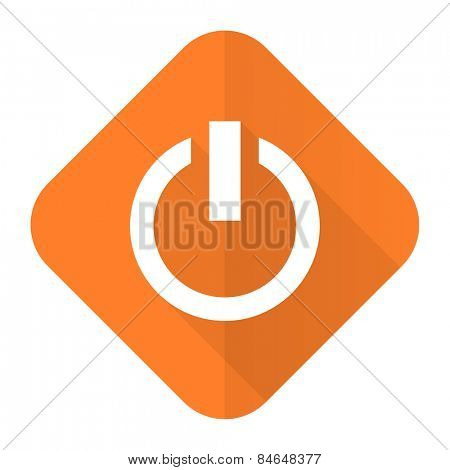 power orange flat icon on off sign