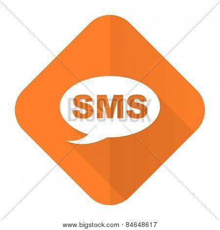 sms orange flat icon message sign