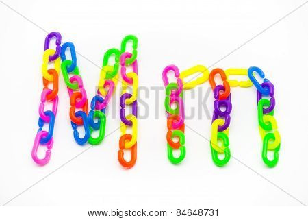M And M Alphabet, Created By Colorful Plastic Chain
