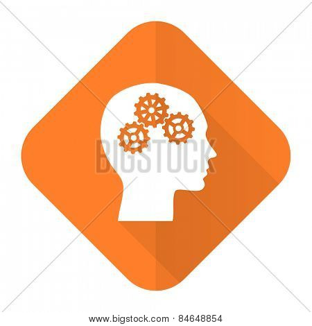 head orange flat icon human head sign