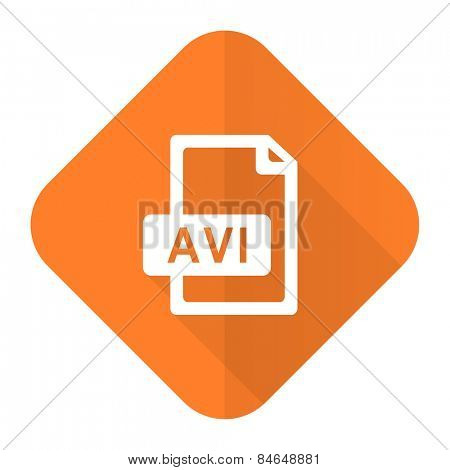 avi file orange flat icon
