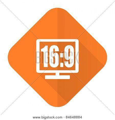 16 9 display orange flat icon