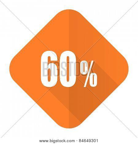 60 percent orange flat icon sale sign