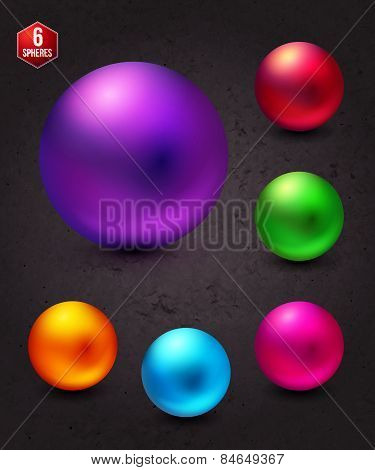 Attractive Shiny Colorful Spheres on Abstract Gray