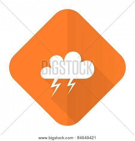 storm orange flat icon waether forecast sign