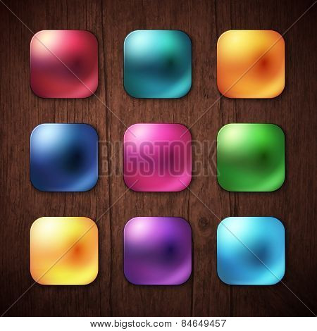 Shiny Colored Square Buttons on Wooden Background