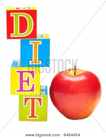 Red Apple And Cubes With Letters - Diet